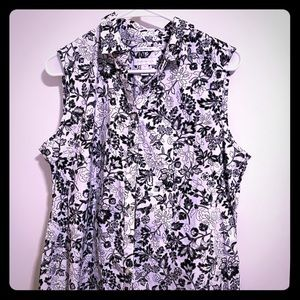 Black and white buttoned down floral top